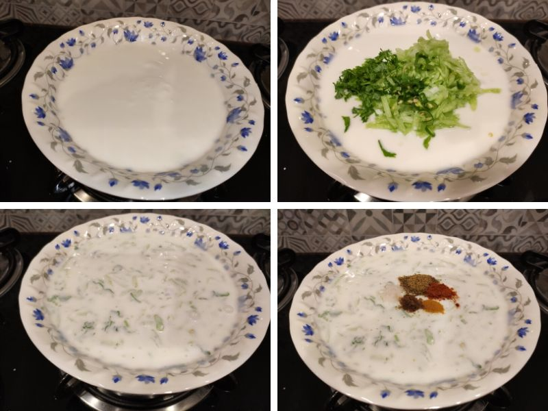 collage of 4 photos showing step by step process of making cucumber raita in Himalayan style