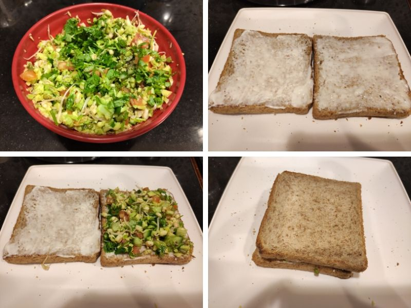 Collage of 4 photos showing step by step process of making vegetarian avocado sandwich