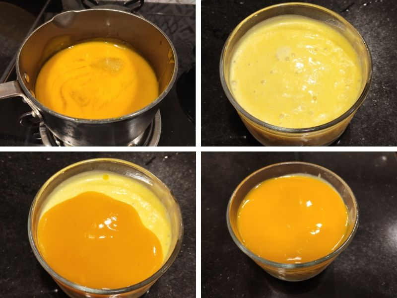 Collage of 4 photos showing the step by step process of making mango cheesecake ice cream