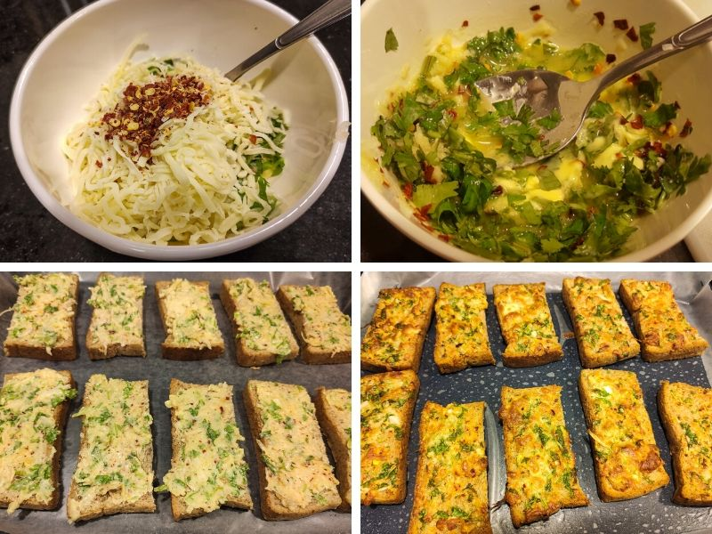Collage of 4 photos showing the step by step process of making Garlic cheese bread