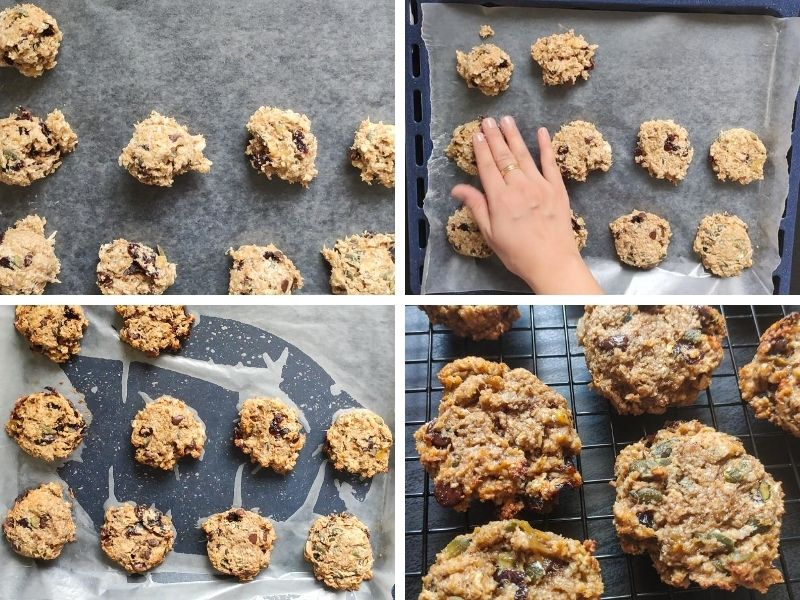 Collage of 4 photos showing the steps of making vegan oatmeal cookies