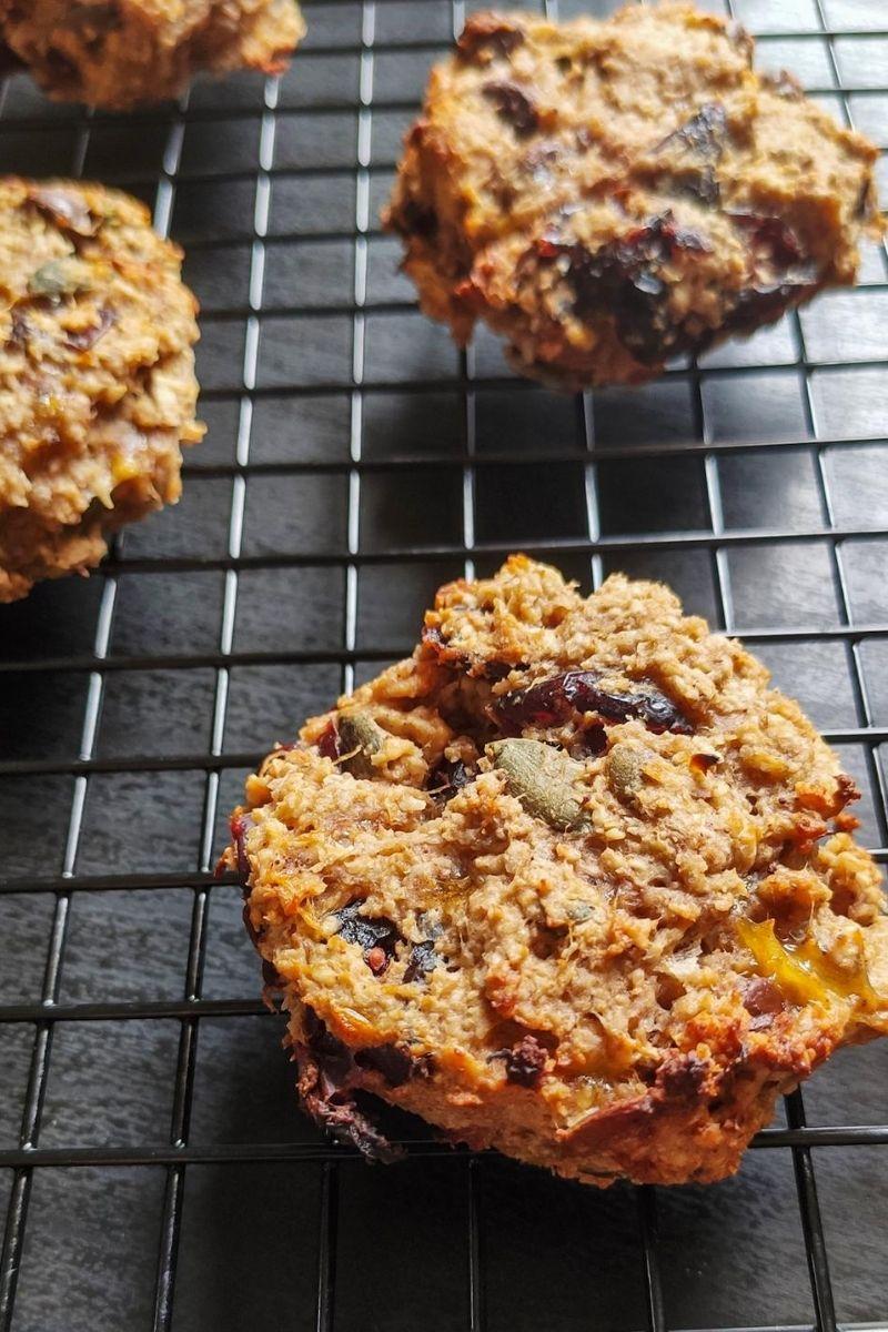 Vegan breakfast cookies on a cooling rack