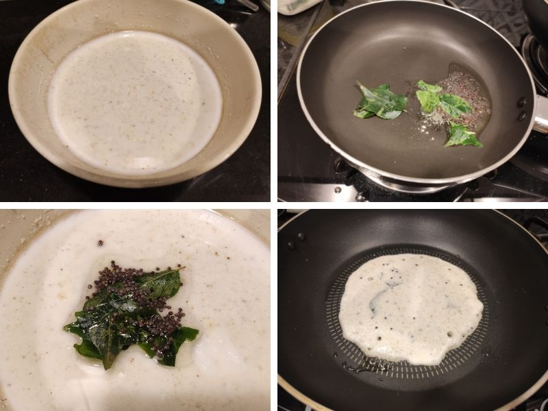Collage of 4 photos showing step by step process of making Rava Uttapam