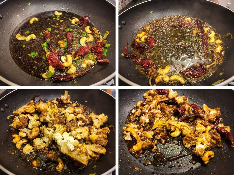 Collage of 4 photos showing step by step process of making Kung Pao Cauliflower