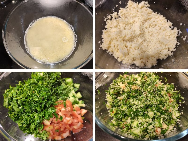 Collage of 4 photos showing step by step process of making Tabbouleh