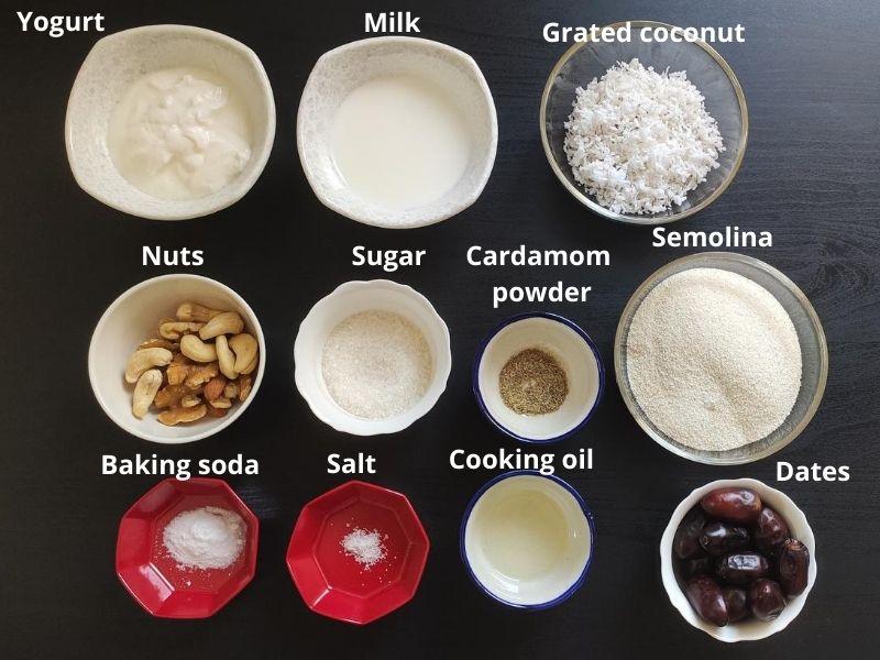 Ingredients for sweet paniyaram