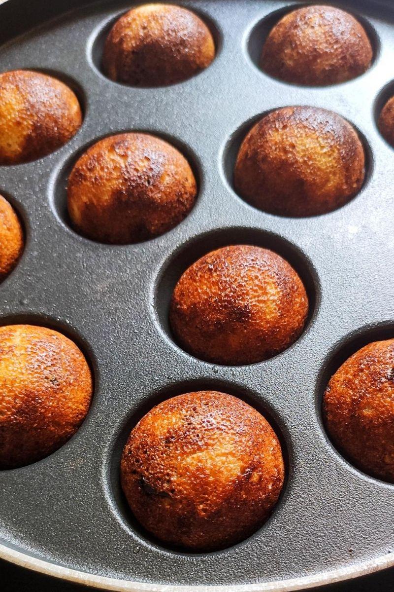 Sweet paniyaram in a paniyaram pan