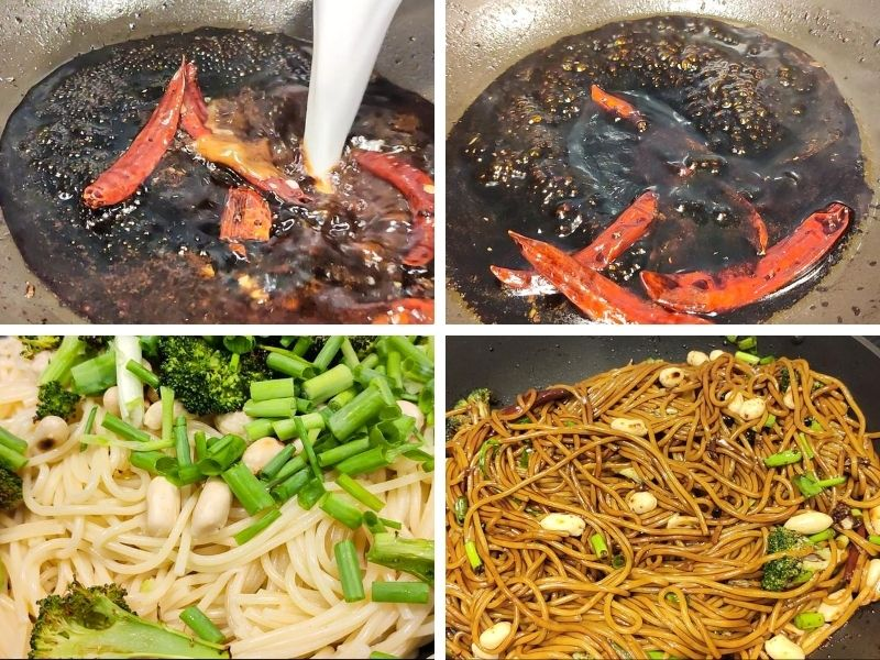 collage of 4 photos showing steps of making vegan kung pao noodles with broccoli