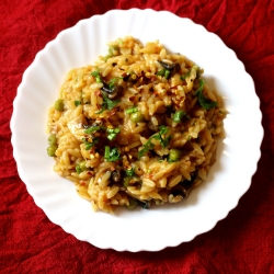 orzo with mushrooms & green peas