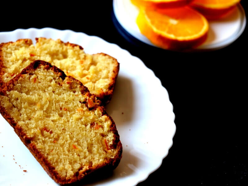 vegan orange cake with candied orange peel