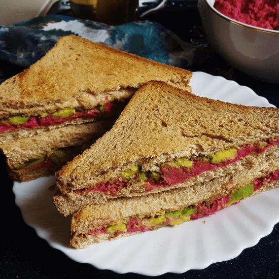 vegan beetroot hummus sandwich