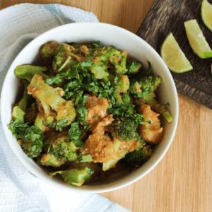 vegan broccoli with potato and chickpea flour