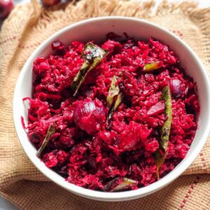 Beetroot Poriyal serve in a white bowl