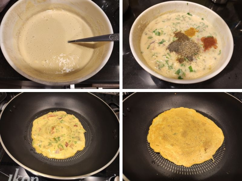 Step by step process of making besan chilla