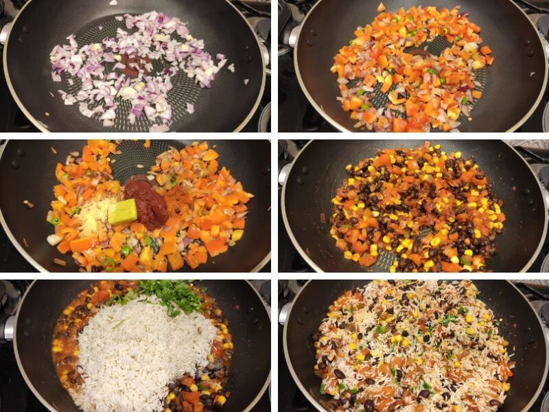Collage of 4 photos showing step by step process of Easy Mexican rice recipe