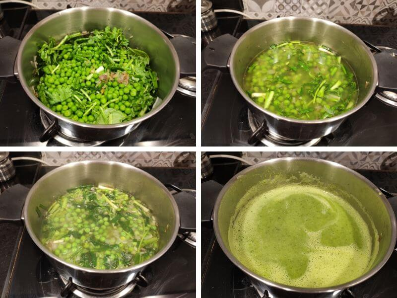 Step by step process pf making Green Peas Soup