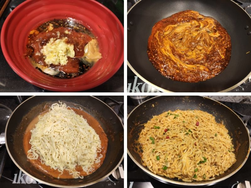 Collage of four photos showing step by step process of making hot peanut butter noodles