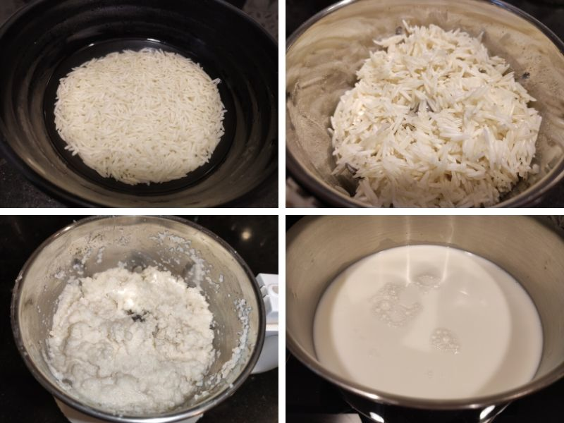 Collage of 4 photos showing step by step process of making Phirni