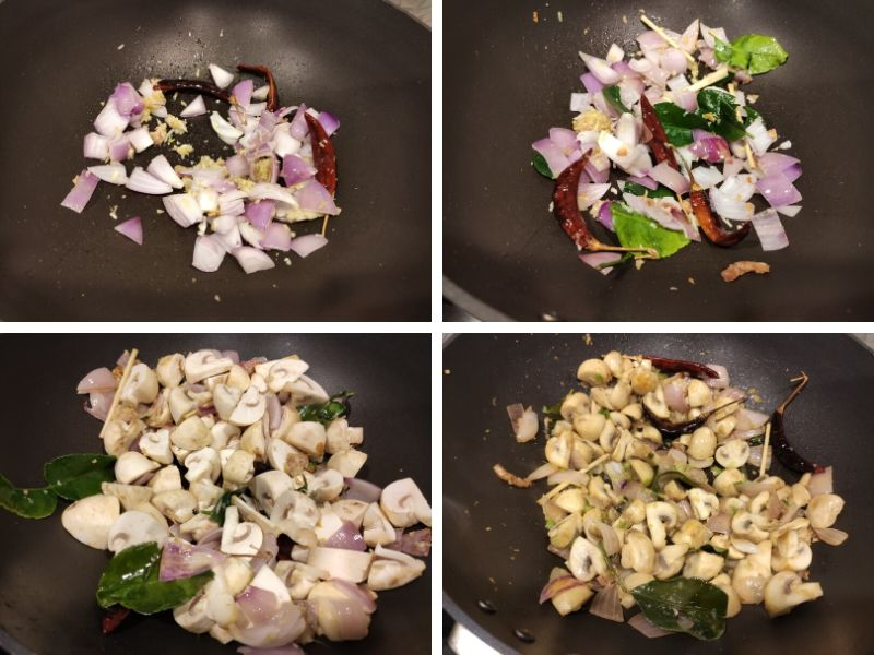 Collage of 4 photos showing the step by step process of making Stir fried mushrooms