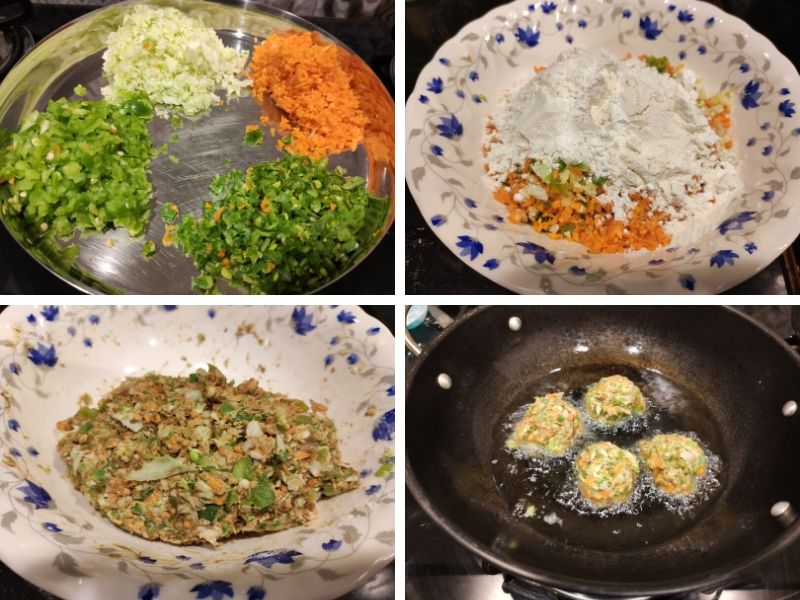 collage of 4 photos showing step by step process of making veg Manchurian