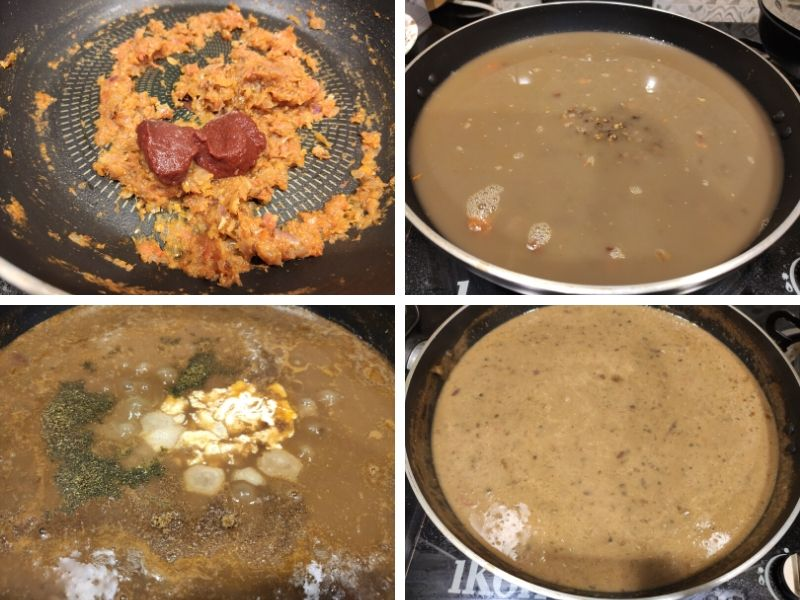 collage of 4 photos showing the step by step process of making dal makhani