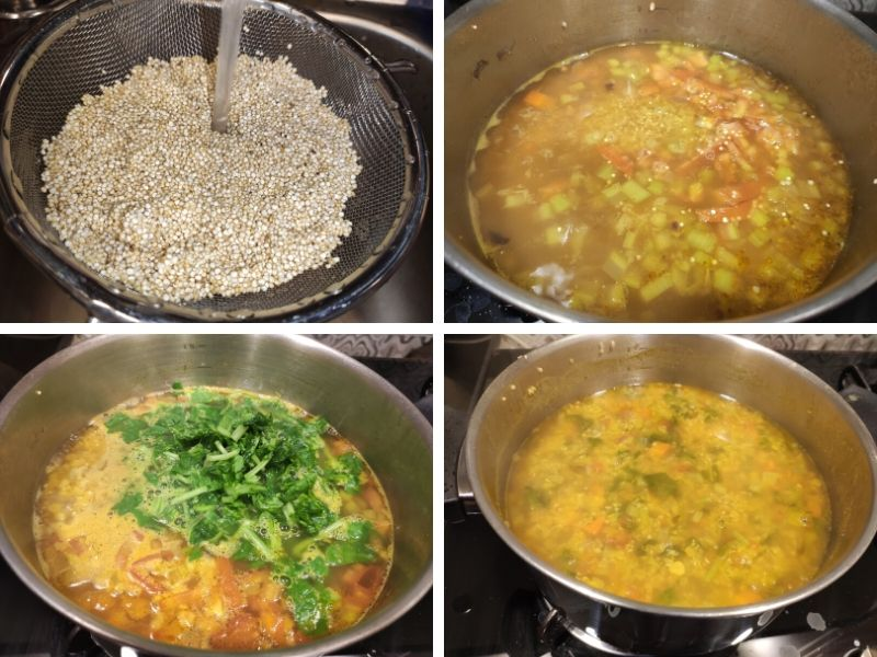 collage of 4 photos showing step by step process of making lentil quinoa soup