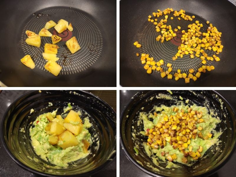 Collage of 4 photos showing step by step process of avocado toast