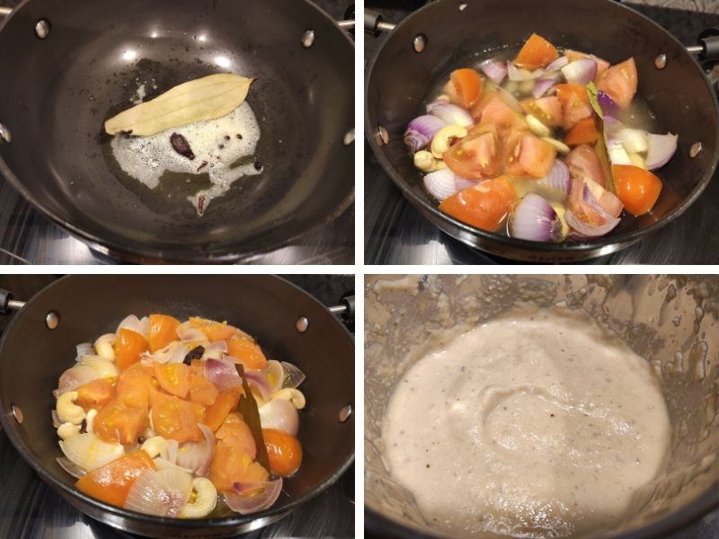 Collage of 4 photos showing the step by step process of making Indian paneer dish