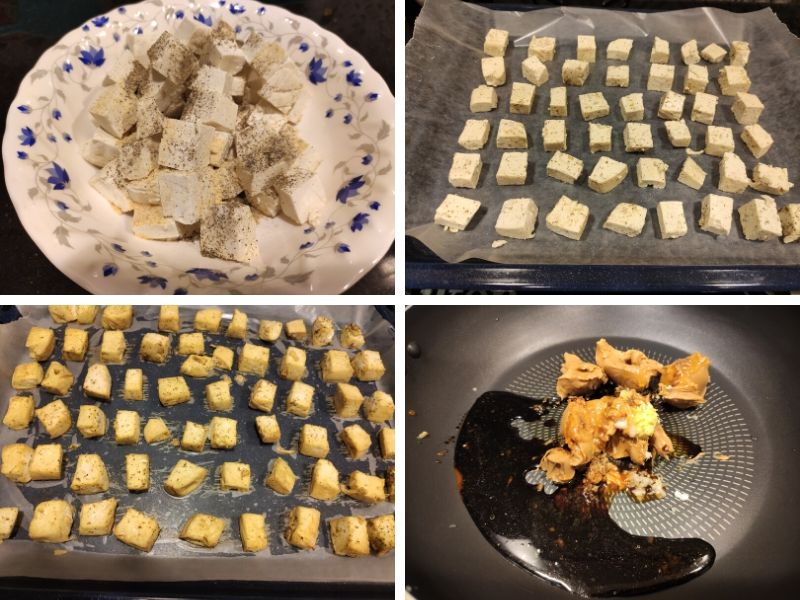 Collage of 4 photos showing step by step process of making tofu in peanut sauce