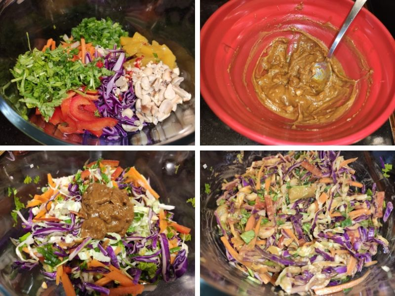 Collage of 4 photos showing the step by step process of making Thai cabbage salad