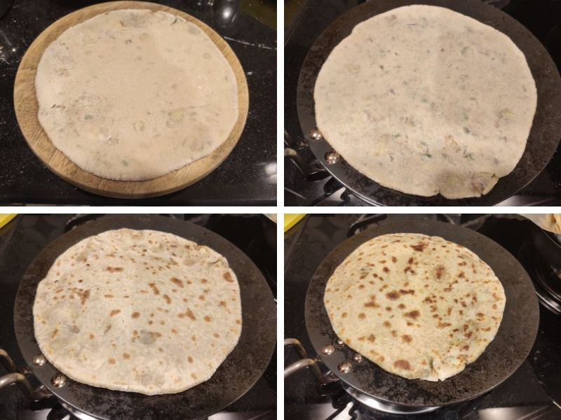 Collage of 4 photos showing step by step process of making aloo paratha