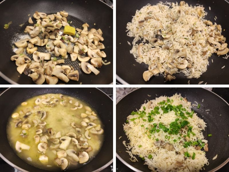 Collage of 4 photos showing step by step process of making mushroom fried rice