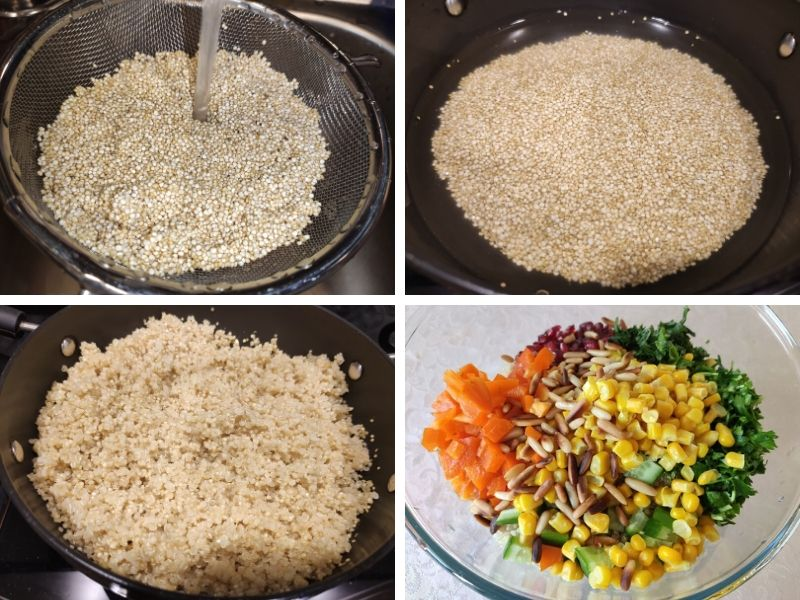 collage of 4 photos showing the step by step process of making quinoa salad