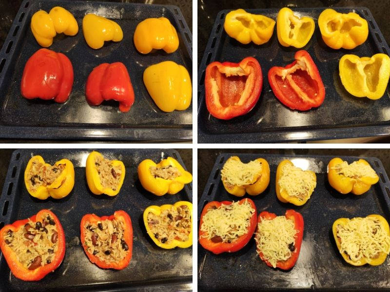 collage of 4 photos showing step by step process of making stuffed peppers