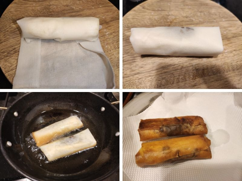 Collage of 4 photos showing step by step process of making chocolate banana spring rolls