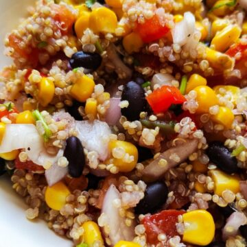 Mexican quinoa salad served in a white bowl