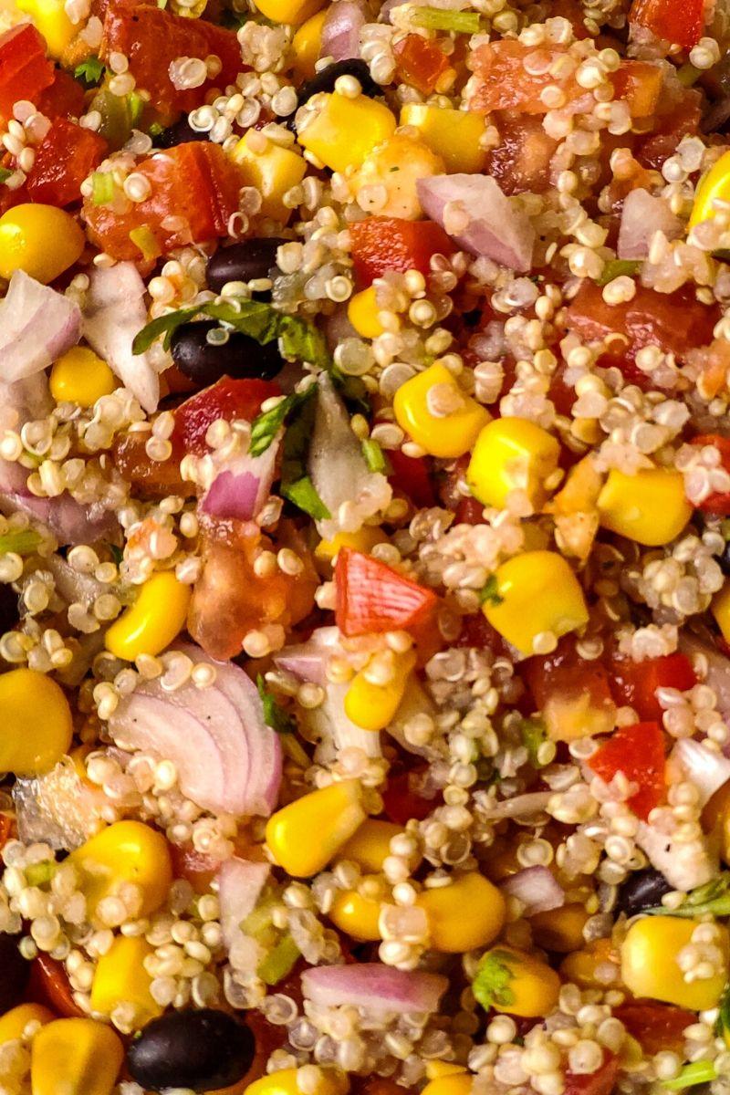 Close up shot of Mexican quinoa salad