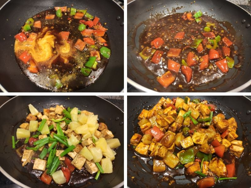 Collage of 4 photos showing the step by step process of making Stir fried Pineapple tofu