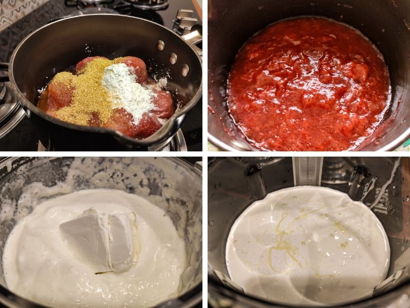 Collage of 4 photos showing the step by step process of making strawberry cheesecake ice cream
