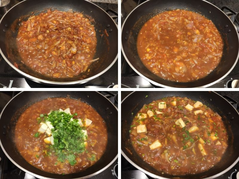 Collage of 4 photos showing step by step process of making Vietnamese style tofu in tomato sauce