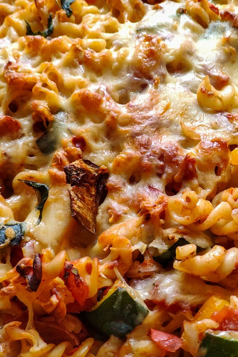 Close up shot of vegetarian baked pasta