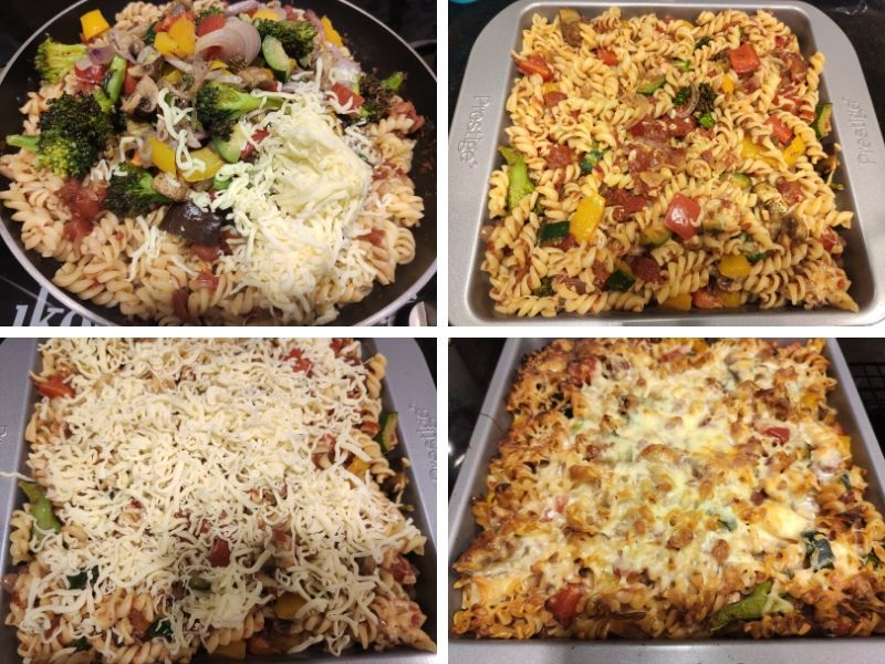 Collage of 4 photos showing the step by step process of making baked vegetable pasta