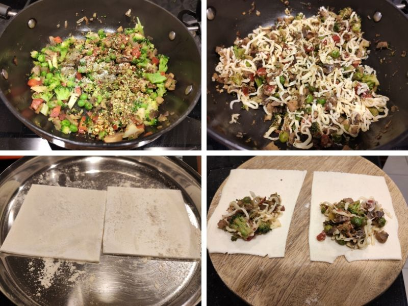 Collage of 4 photos showing the step by step process of making veg patties