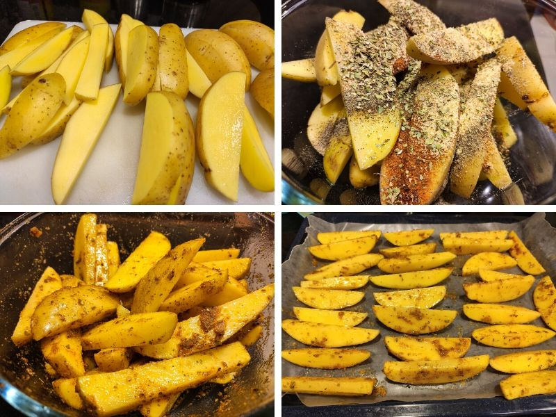 Collage of 4 photos showing the step by step process of making baked potato wedges