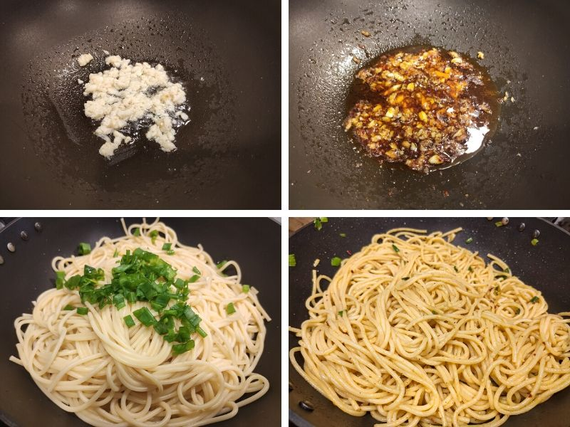 collage of 4 photos showing the step by step process of making chili garlic noodles