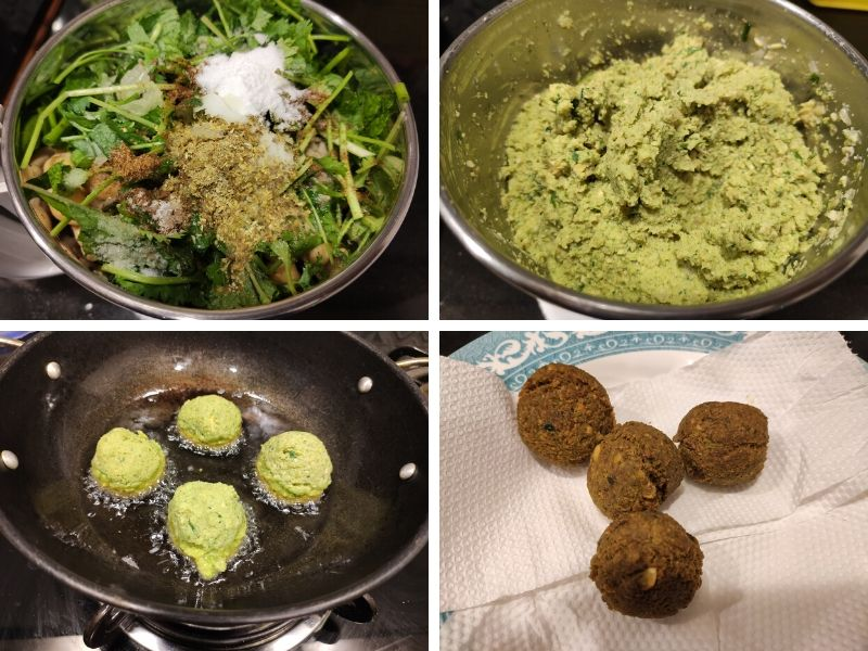 collage of 4 photos showing the steps of making falafel wraps