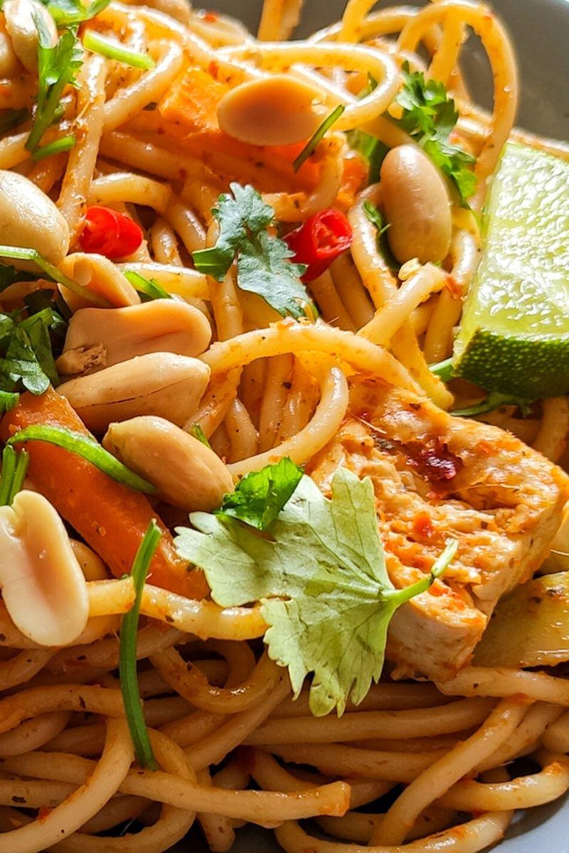 Close up shot of Thai curry noodles