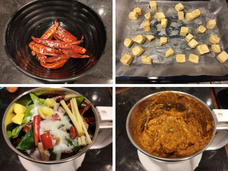 Collage of 4 photos showing step by step process of making Thai curry noodles