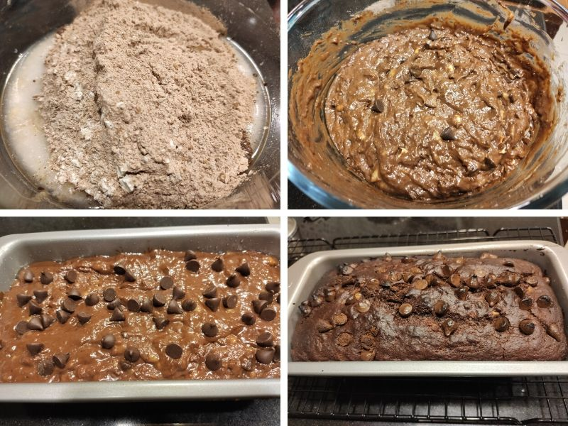 Collage of 4 photos showing step by step process of making vegan chocolate banana bread