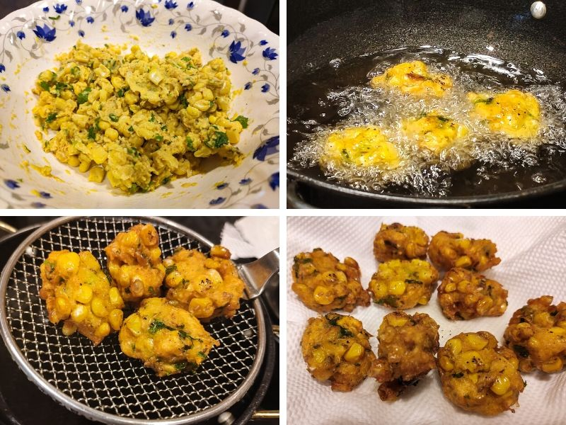 Collage of 4 photos showing step by step process of making easy corn fritters